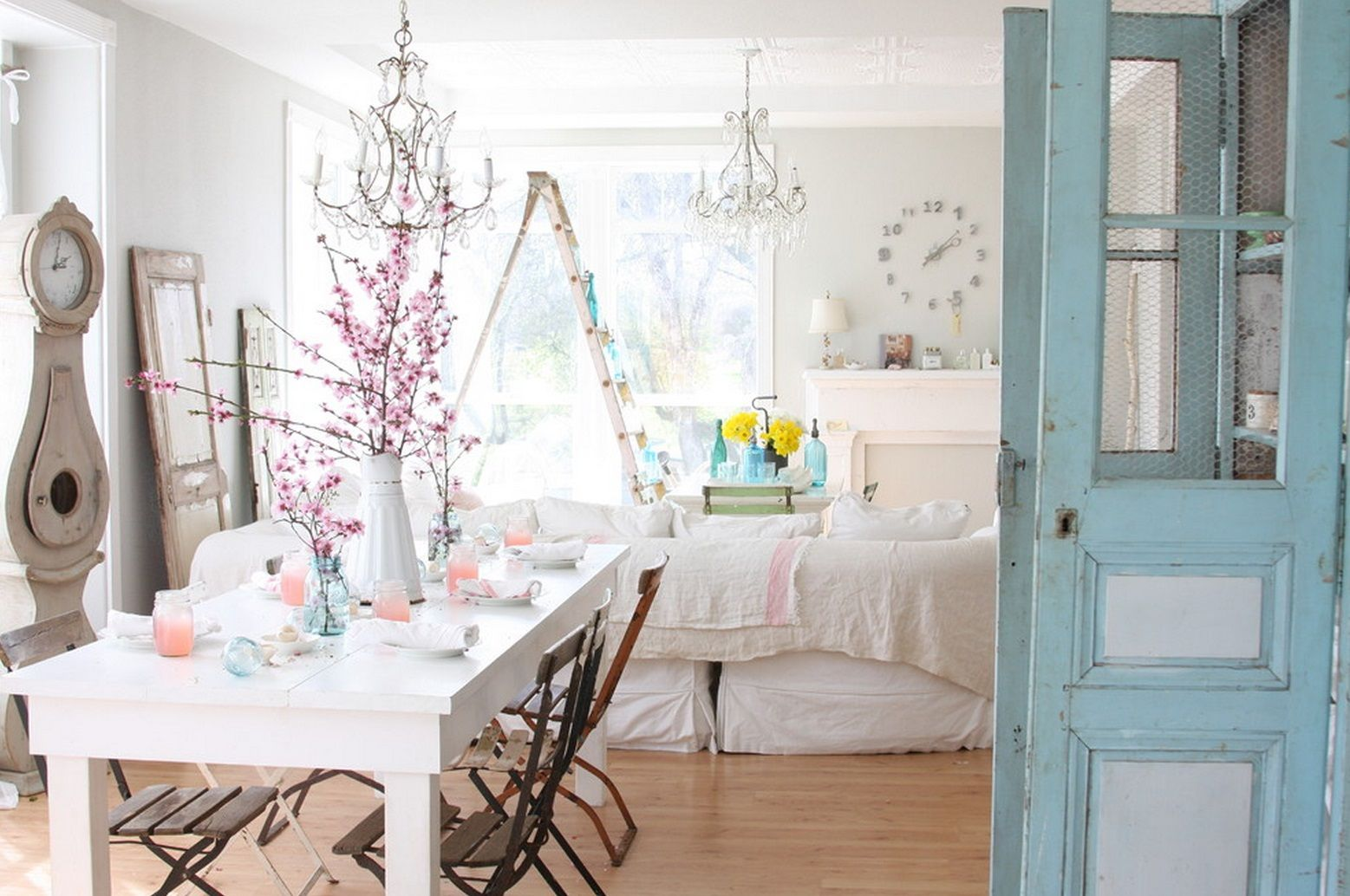 Shabby Chic Interior Design Style. Dining room comjoined with living zone in the modern shabby interior