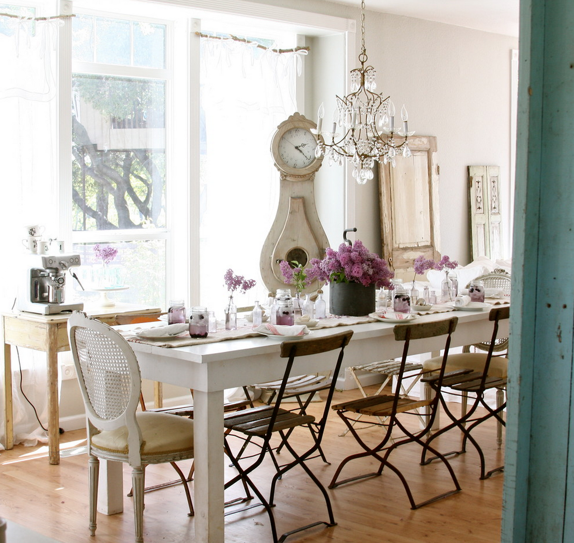 Shabby Chic Interior Design Style. Dining room arrangement and table serving in the classic style for the modern interior rehash