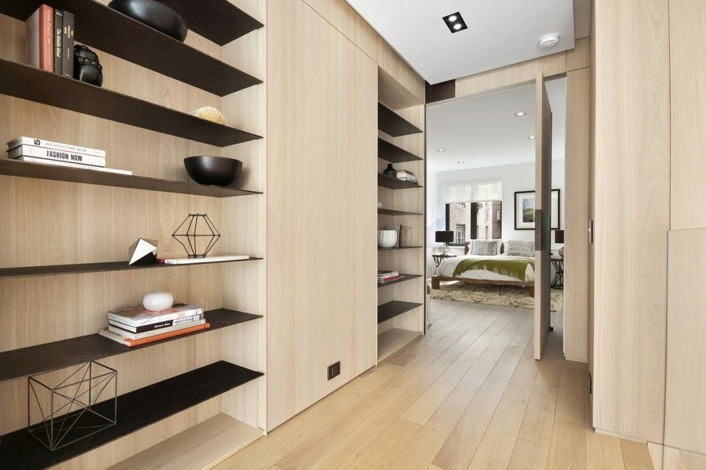 Modern Hallway Decoration Design Ideas. Light wooden material for the complex of storage systems in the hall