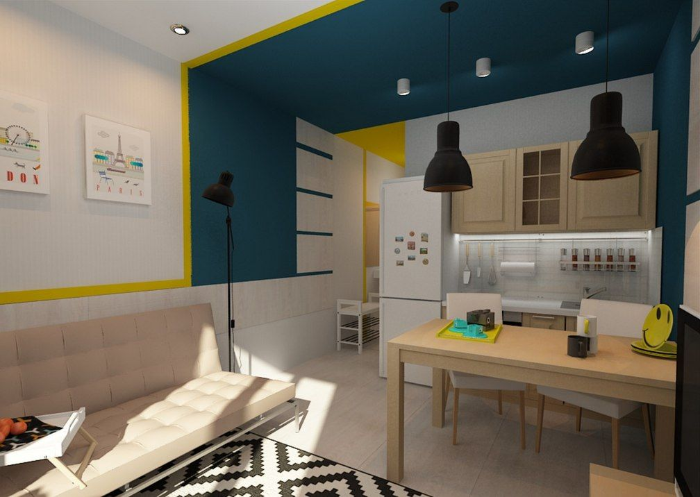 Tiny European Studio Condo Apartment Design Concept. The dining zone is near the rest one. Modern technique of decorating the wall and walls in the same pattern have zoned the small area into three comprenesive zones