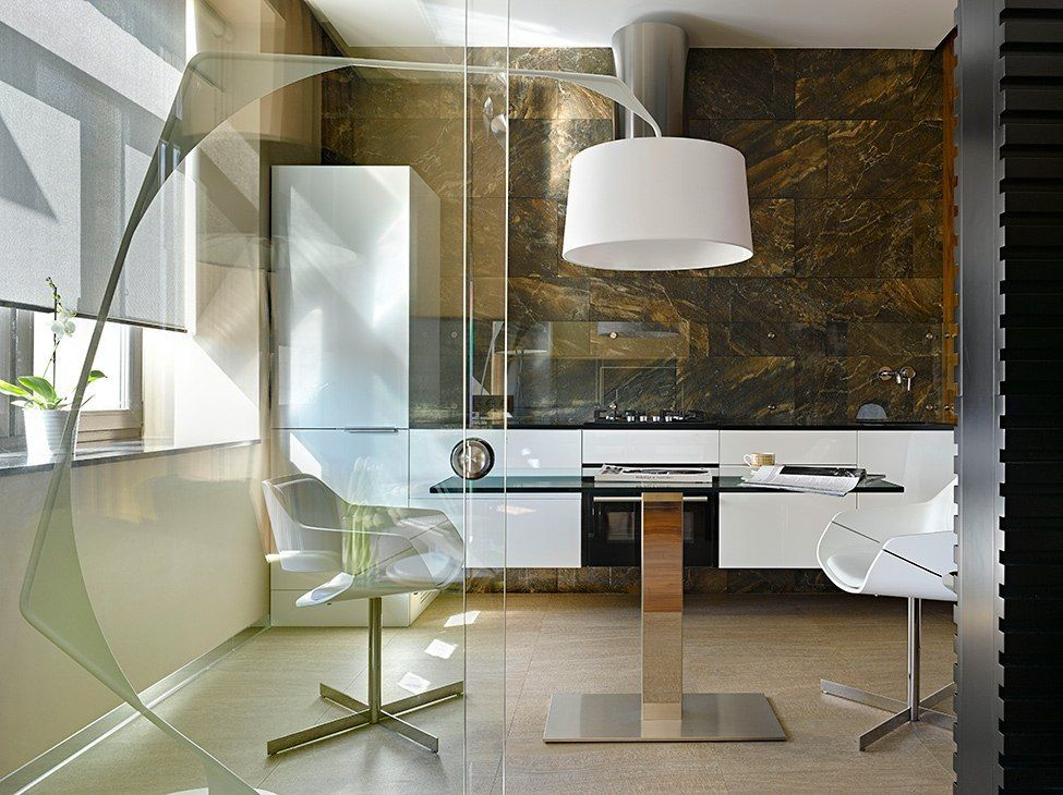 Small 38 Square Meters Moscow Apartment in Modern Style. Nice design with a lot of translucent elements and strict lines in the overall dark noble wooden colors