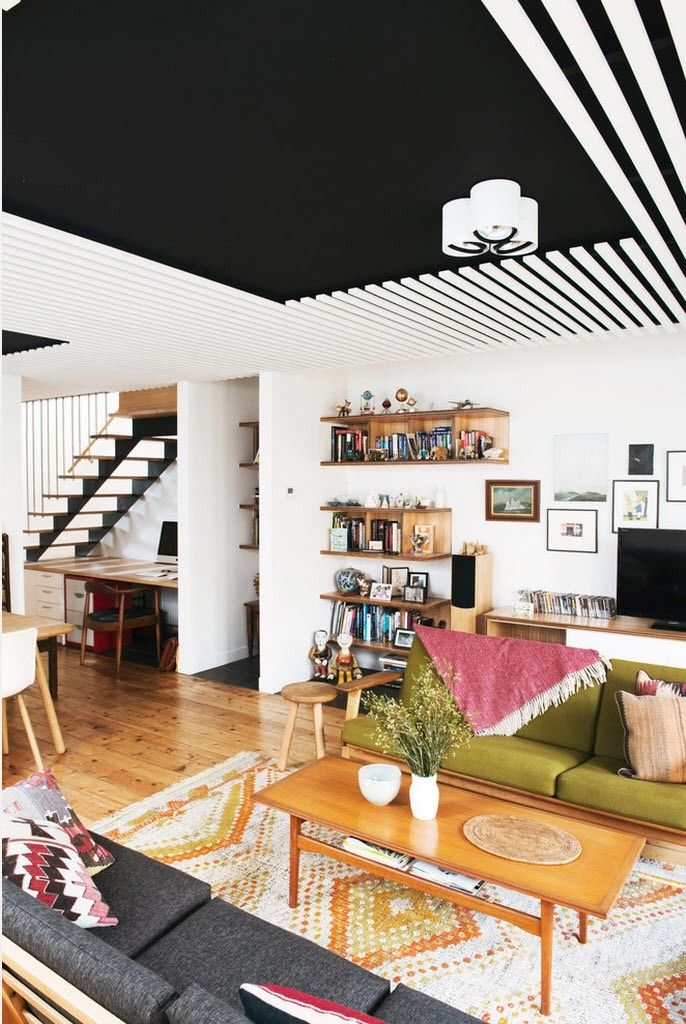 Ceiling Designs 2016: Full Review of the New Trends. Black and white contrasting decoration
