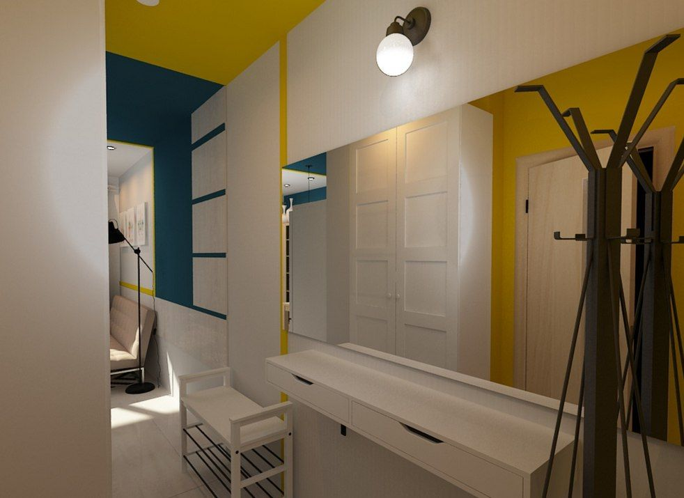 Tiny European Studio Condo Apartment Design Concept. Small hall with modern finishing materials and unusual color theme and trimming looks very organic and modern