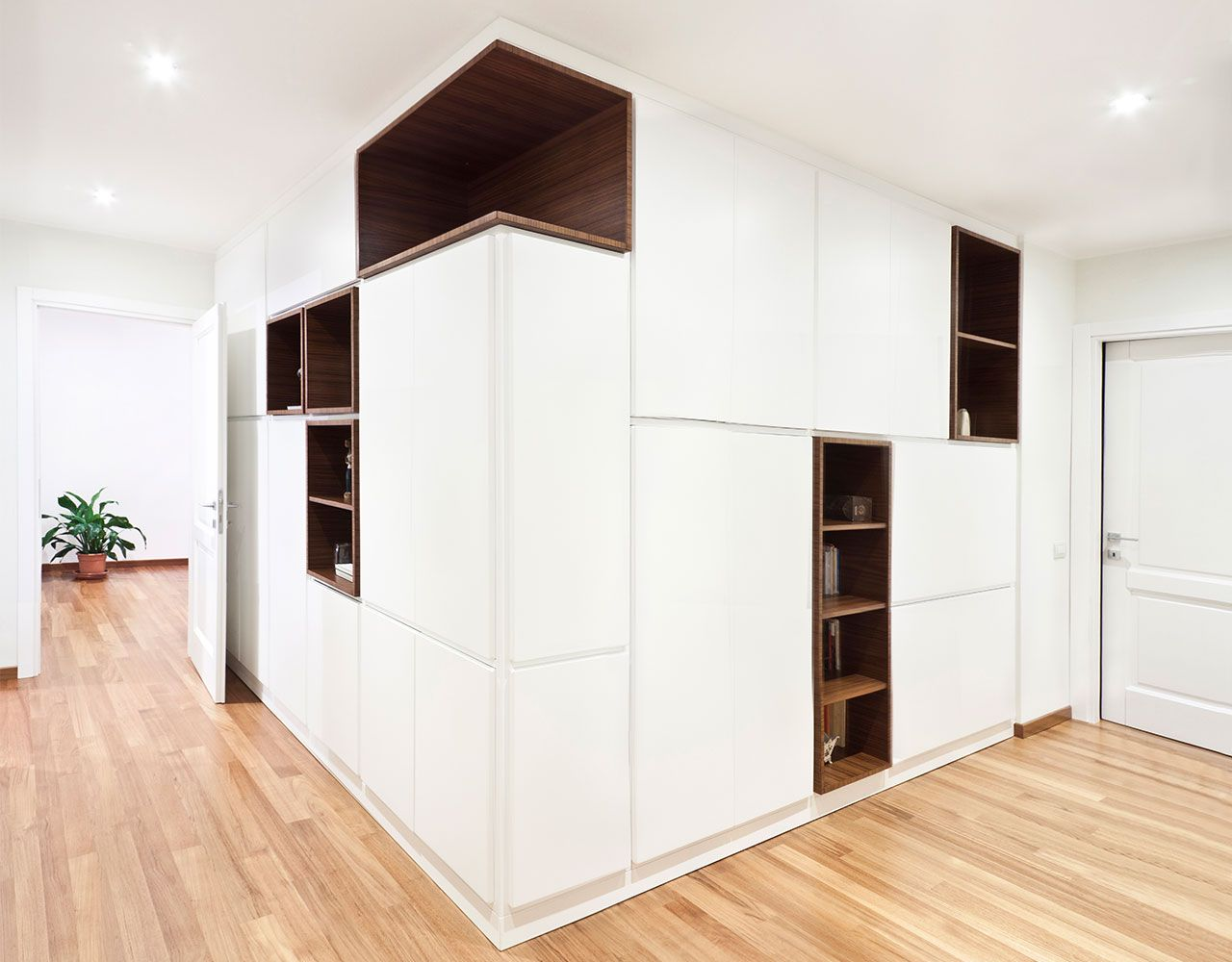 Modern Hallway Decoration Design Ideas. Another great idea to arrange the storage system in the spacious hall