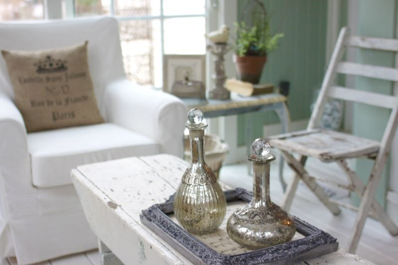 Shabby chic design ideas for the tight dining room with white covered furniture and burlap spectacular cushion