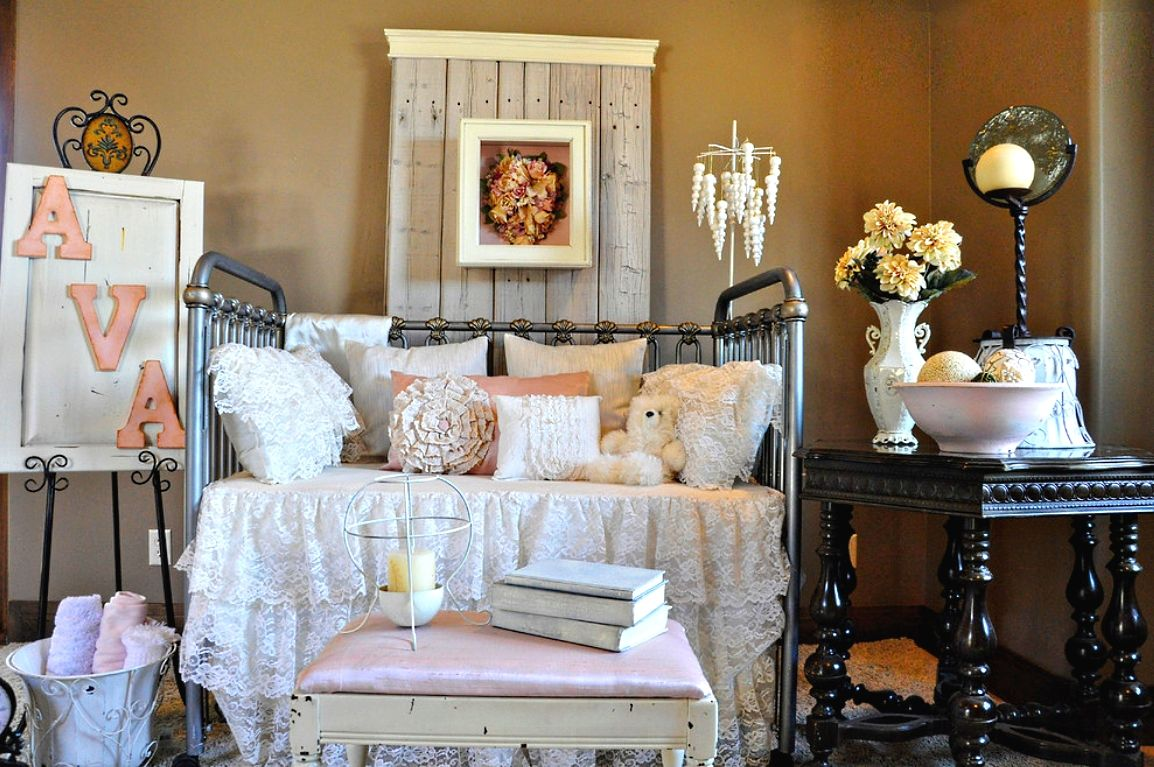 Shabby Chic Interior Design Style. bedroom decoration with lots of different rare antique vintage stuff
