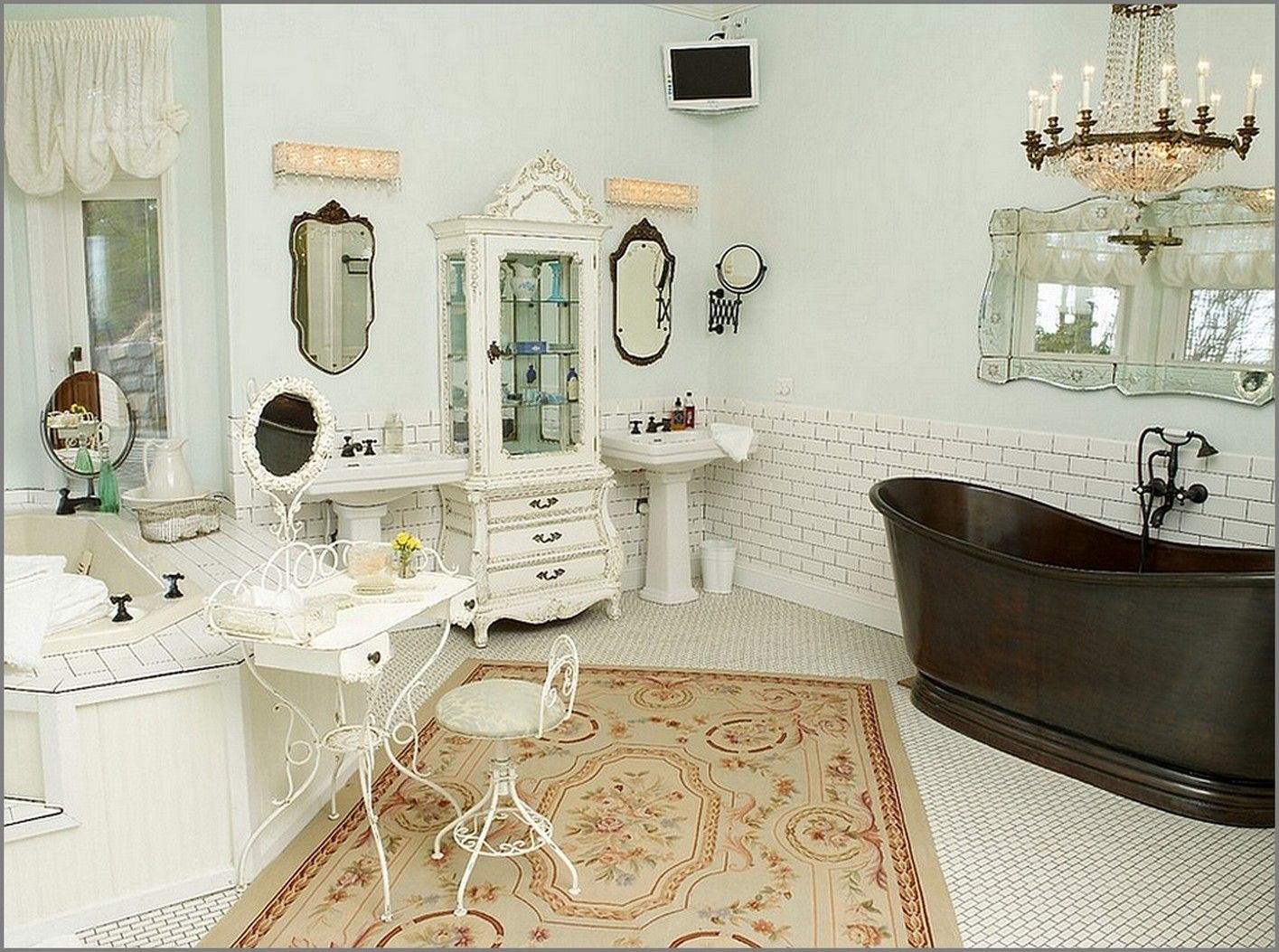 Shabby Chic Interior Design Style. bathroom could combine rug, metal and wooden furniture elements