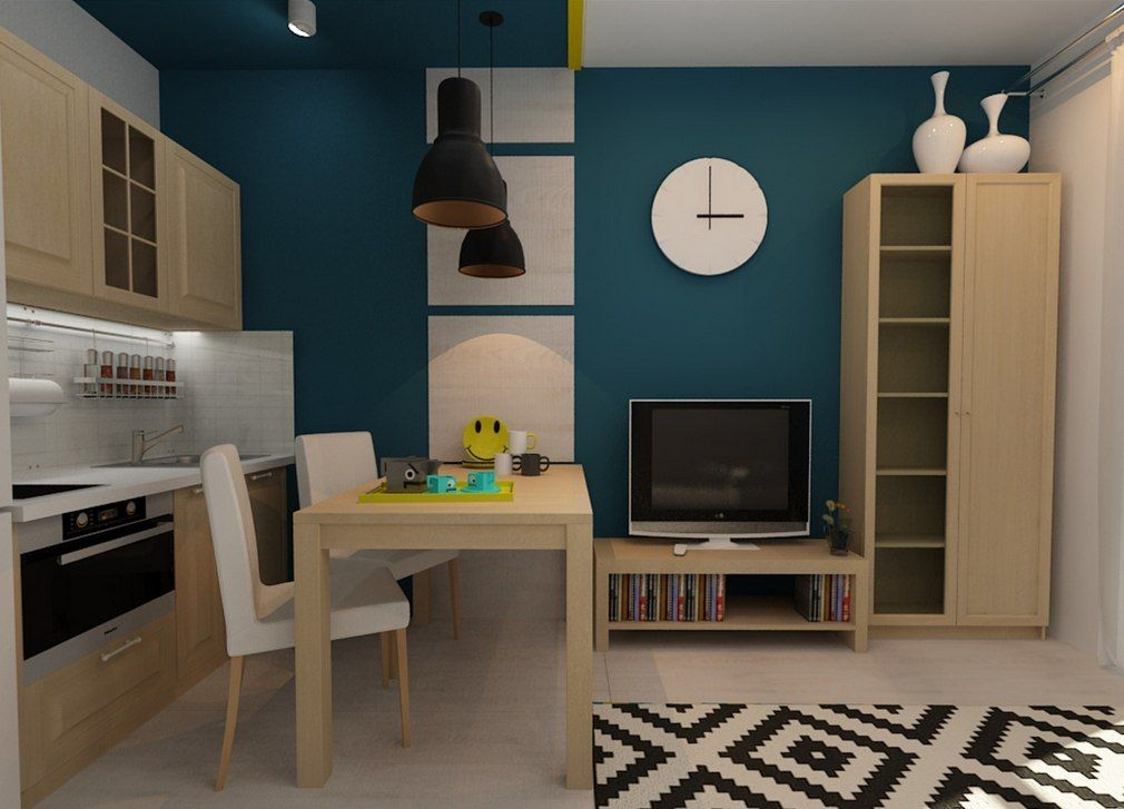 Tiny European Studio Condo Apartment Design Concept. The dining zone is near the rest one. Everything is logical: had a meal - have a rest!