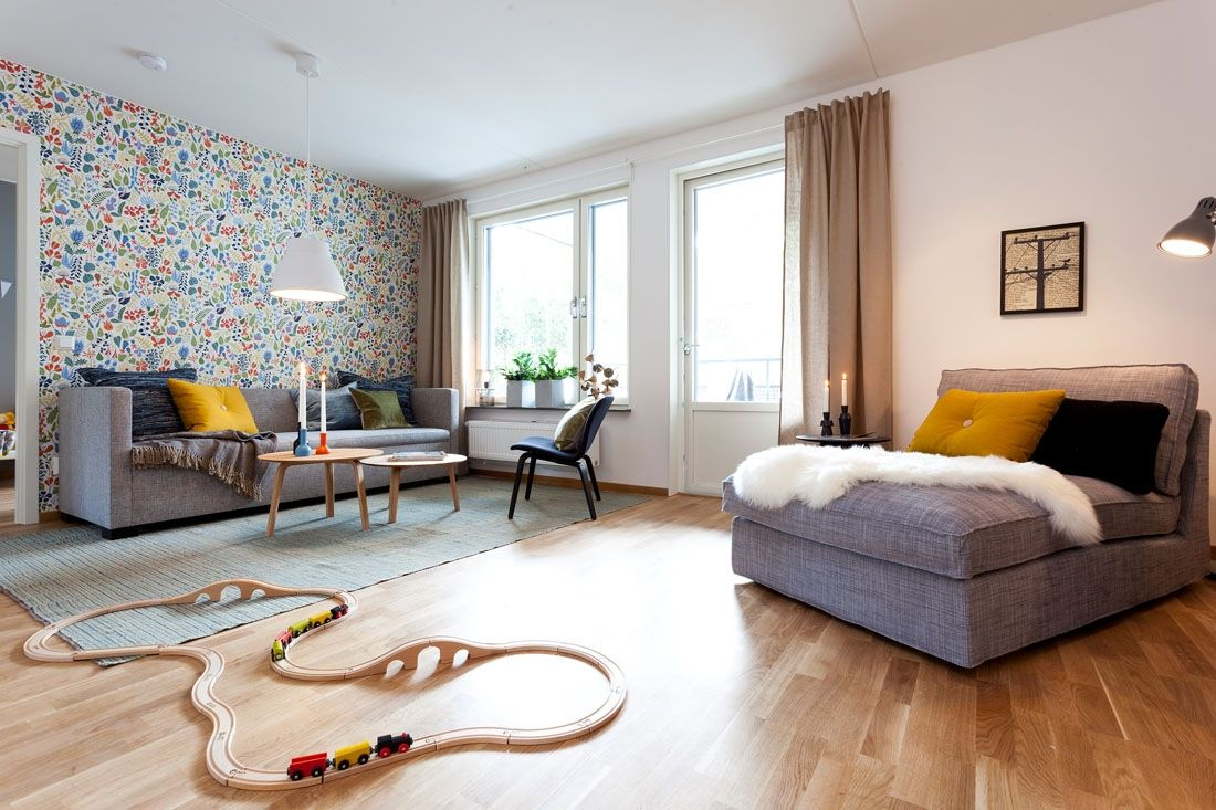 Two-Bedroom Apartment Scandinavian Style Design Review. Bright finish of the living room full of natural materials