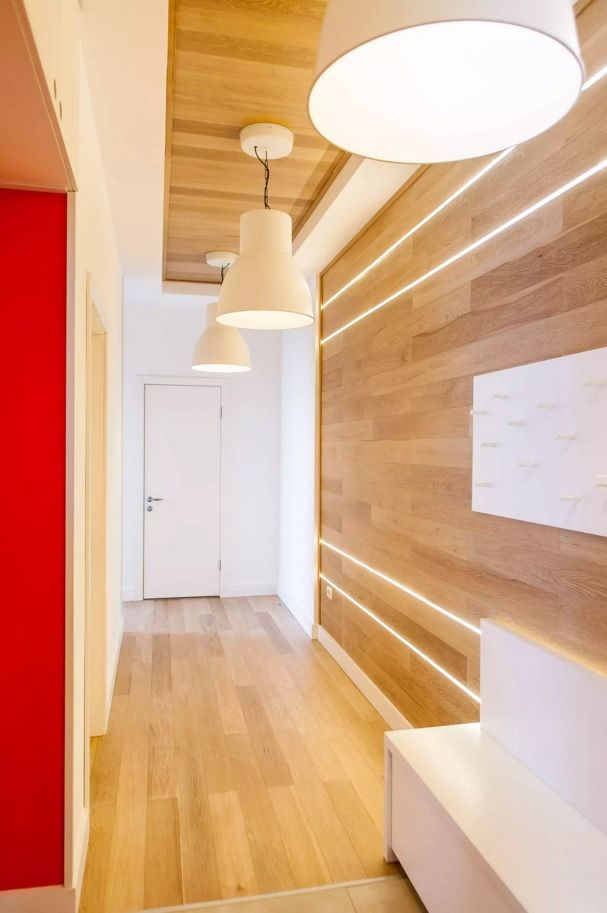 Modern Hallway Decoration Design Ideas with unique idea of trimming the walls with laminate plates same as floor