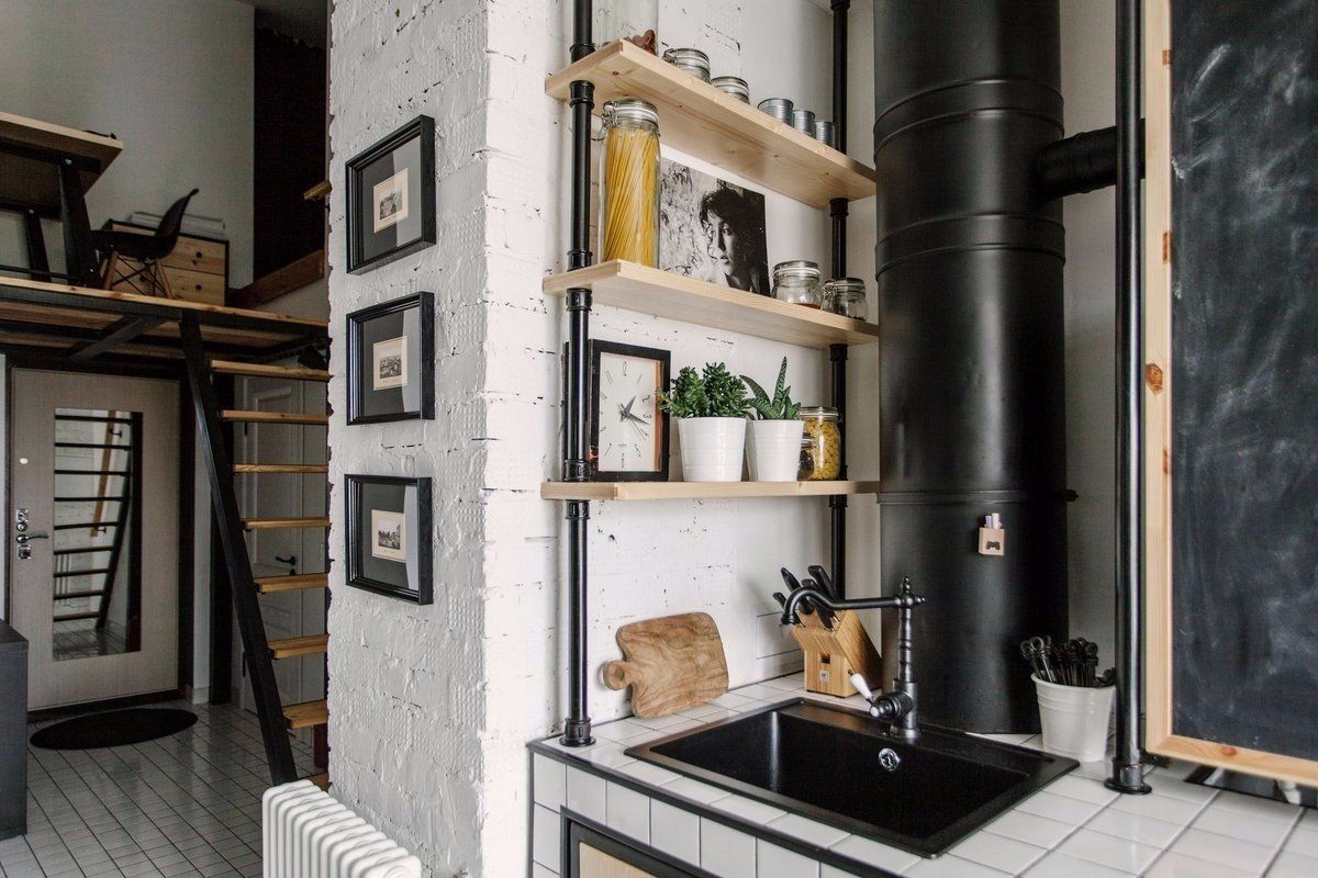 Cozy European Two-level Condo in Scandinavian Style Review. The nature corner in the kitchen