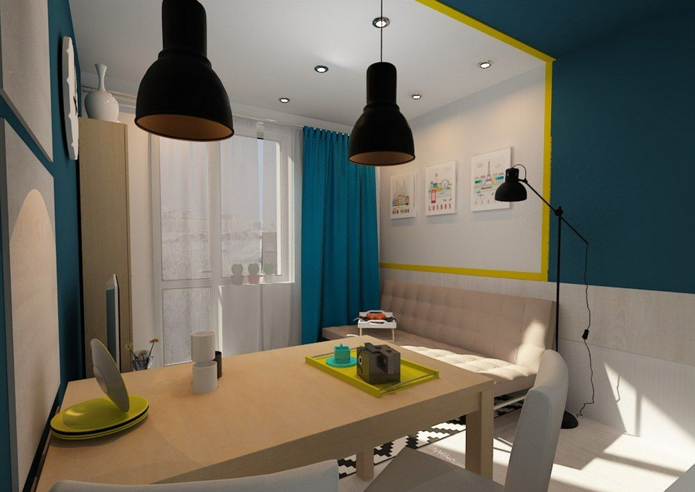 Tiny European Studio Condo Apartment Design Concept. The dining zone is near the rest one. Kitchen and dining area os so tiny that managed to accommodate only a small table and a couple of chairs