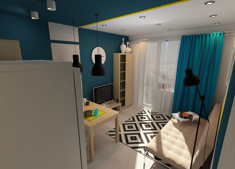 Tiny European Studio Condo Apartment Design Concept. The rest zone of the area is full of light through the light tulle and have black lampshades of the hanging lamps over the checkered rug