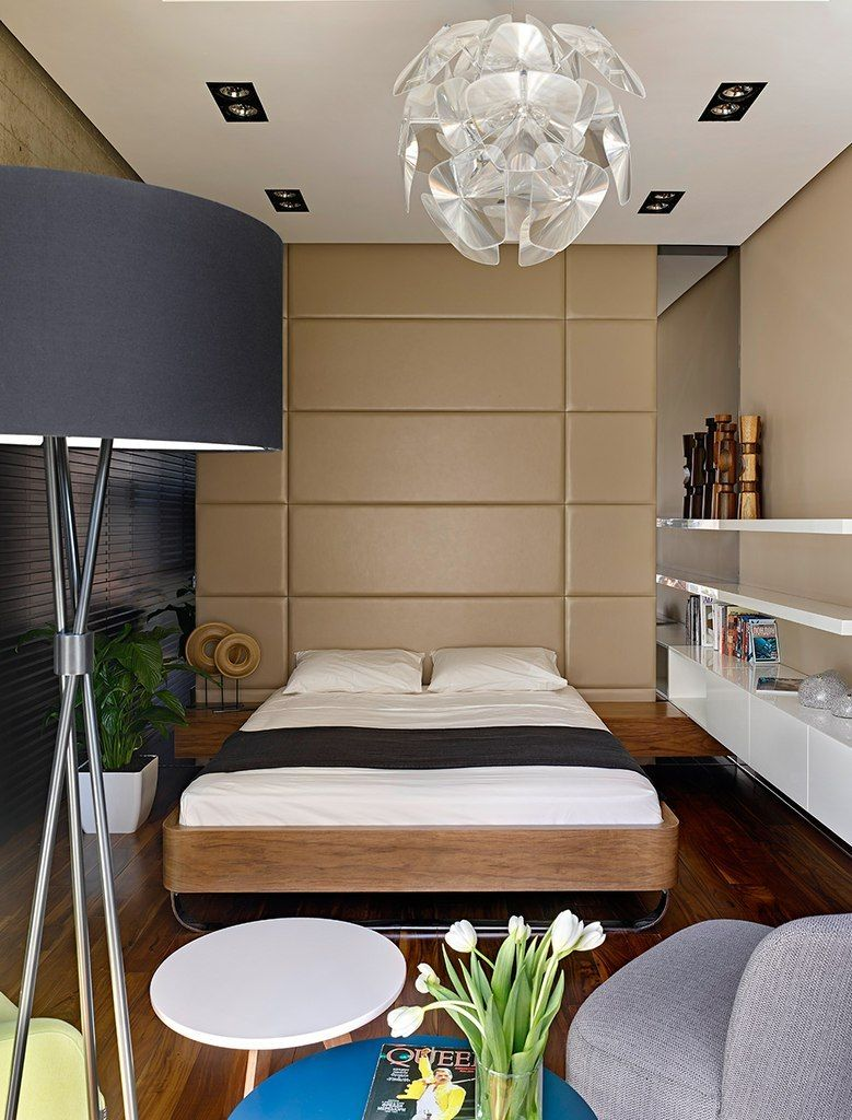 Small 38 Square Meters Moscow Apartment in Modern Style. Soft wall as a headboard looks stylish and cool in the bedroom