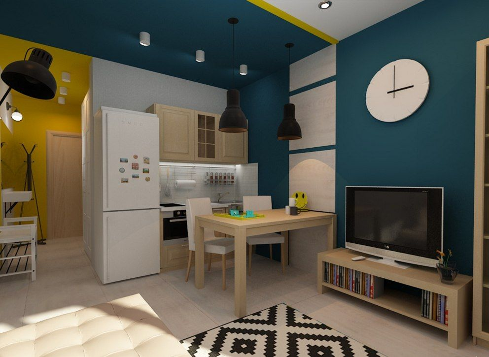 Tiny European Studio Condo Apartment Design Concept. The dining zone is near the rest one. Ultramodern deep blue shade for the wall trimming with paint in the ideally smooth walls with white inlays