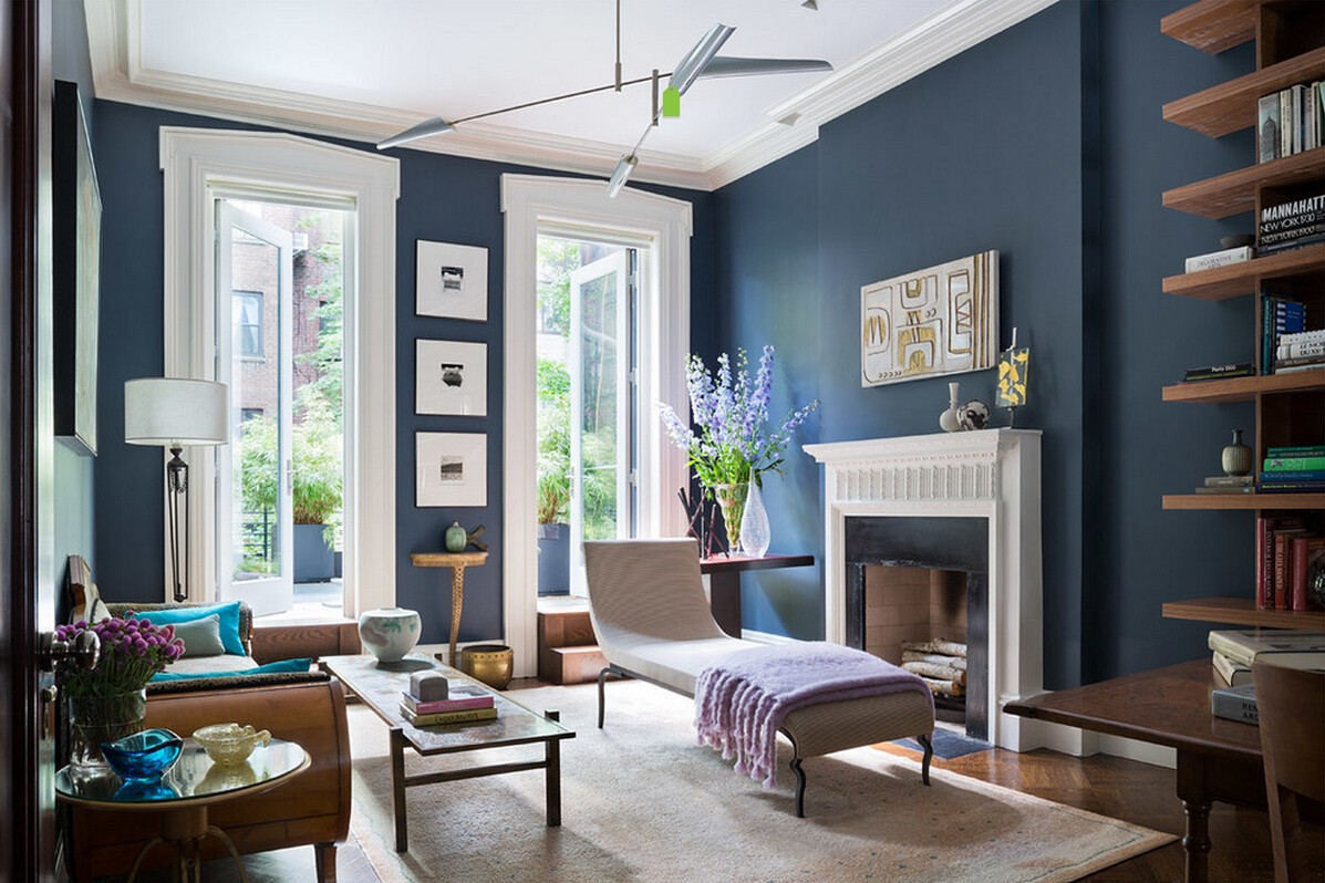 Blue Color Decoration Ideas for Living Room. White mix in the classic interior with the orroman in front of fireplace
