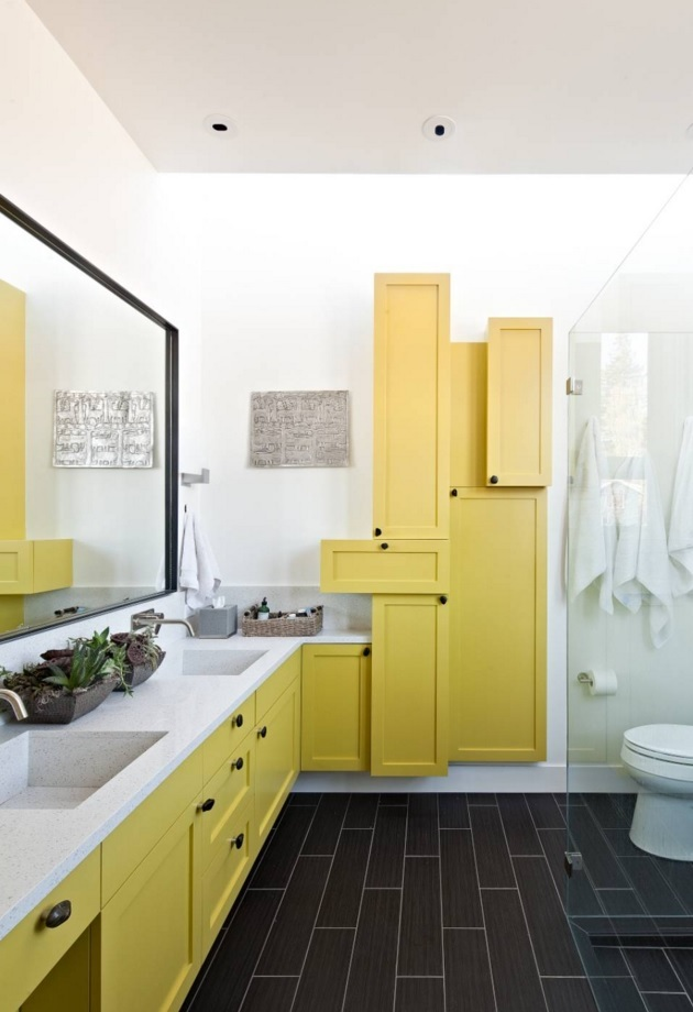 Bathroom Modern Interior Design Original Ideas. the premise with gorgeous absolutely unique solution for the storage system in yellow