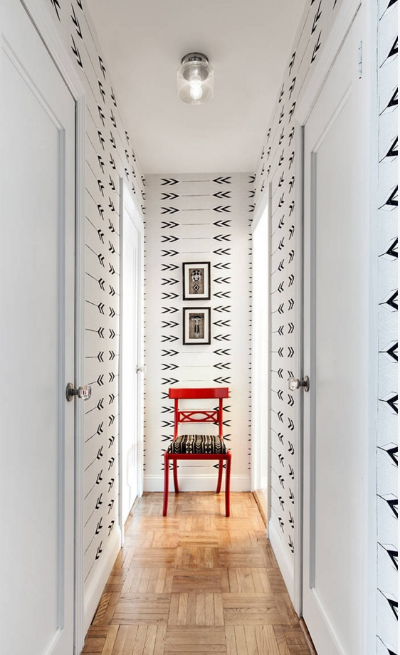 Top 20 Modern Unique Hallway Design Ideas. White hallway wallpaper with pattern