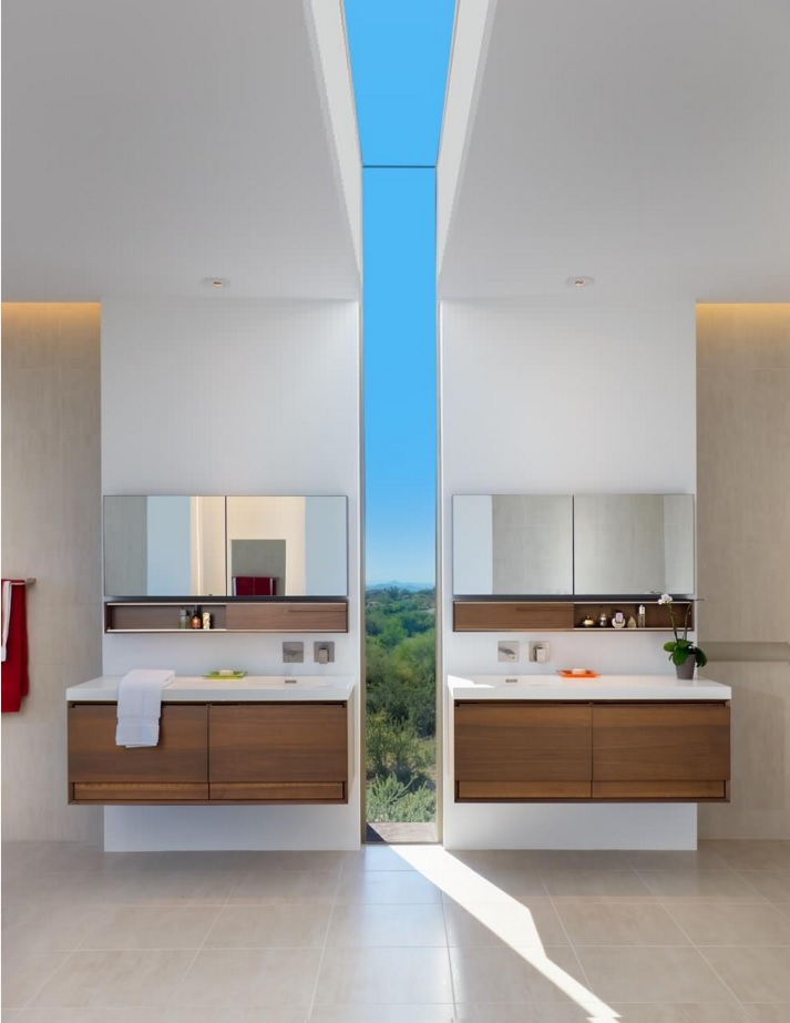Bathroom Modern Interior Design Original Ideas. Gorgeous futuristic theme in the bathroom divided in two parts by the wall-high narrow glass panel