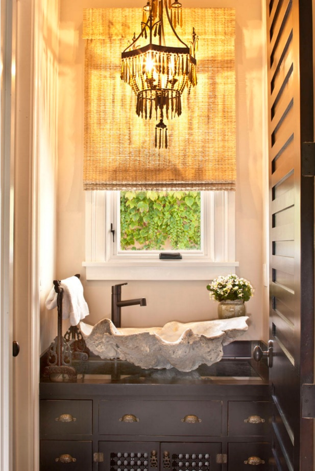 Bathroom Modern Interior Design Original Ideas. Ethnic style with unusual execution of the sink in the form of pearl oyster shell