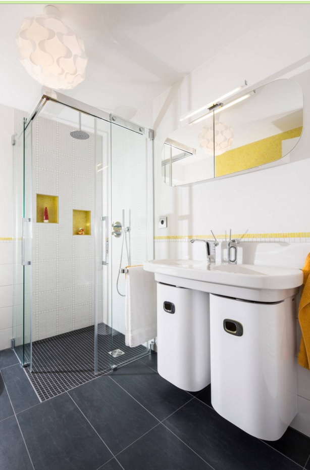 Bathroom Modern Interior Design Original Ideas. Totally impeccable white decoration in the premise with glass walls for the shower