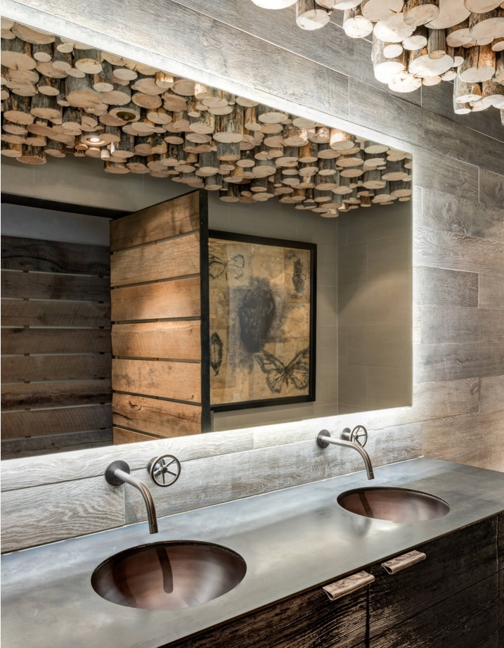 Bathroom Modern Interior Design Original Ideas. Unusual mix of futurism and rustic style: absolutely stunning design full of wood and stone