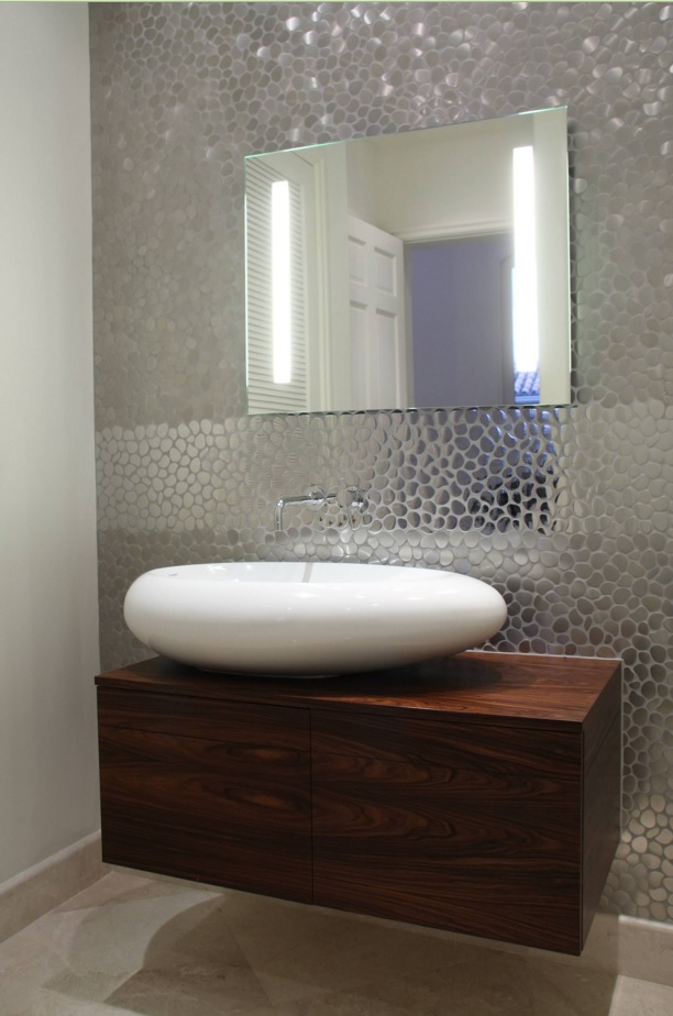 Bathroom Modern Interior Design Original Ideas. Oval sink and the silver wall trimming create an unusual atmosphere in the area