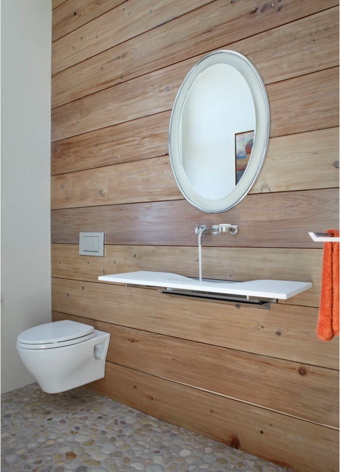 "Bathroom Modern Interior Design Original Ideas. Stylish trend of the ""hovering"" toilet at the foreground of the wooden planking decoration of the walls"