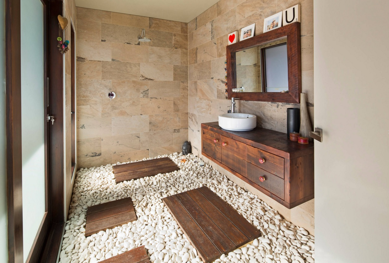 Bathroom Modern Interior Design Original Ideas. Unique design of the bathroom with wooden boards to take a shower