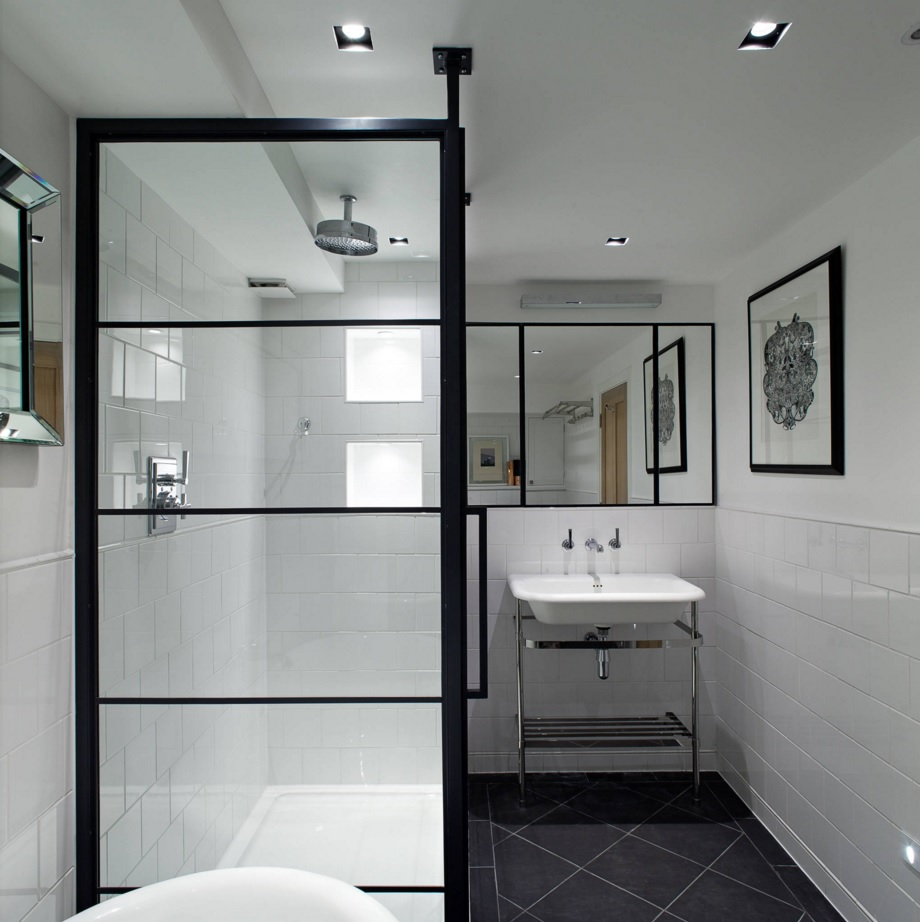 Bathroom Modern Interior Design Original Ideas. Original idea to make the door to the shower in the form of mirroring lattice