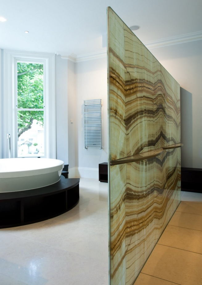 Bathroom Modern Interior Design Original Ideas. Glass thin zoning wall to completely change the atmosphere in the room