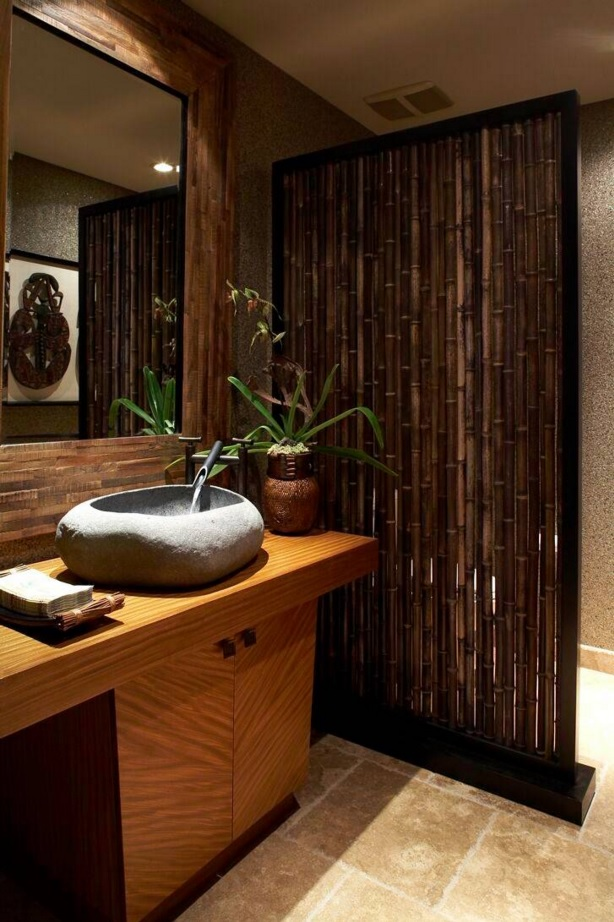 Bathroom Modern Interior Design Original Ideas. Apparent gravitation to the ecological Asian tropic themes with its natural materials as bamboo and stone.