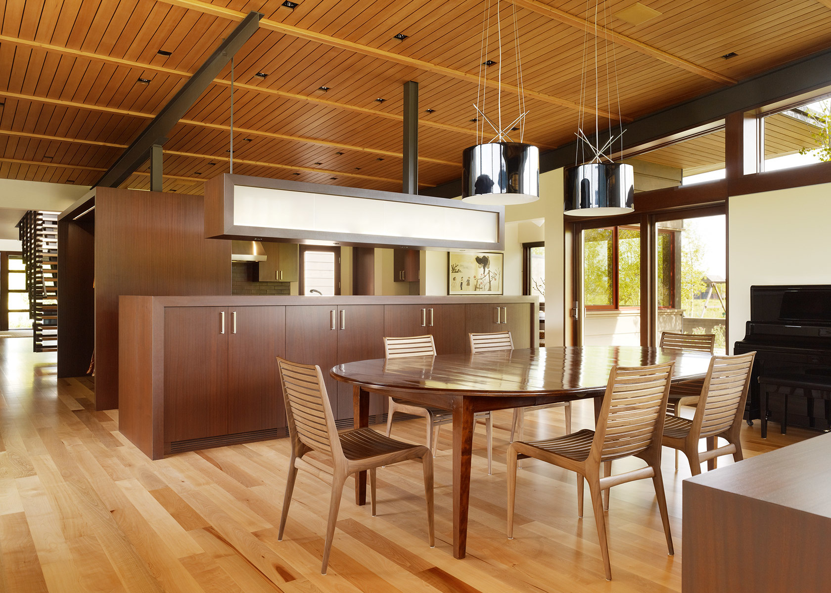 Top 15 Best Wooden Ceiling Design Ideas. Nice light dining room in the studio first floor of the mansion
