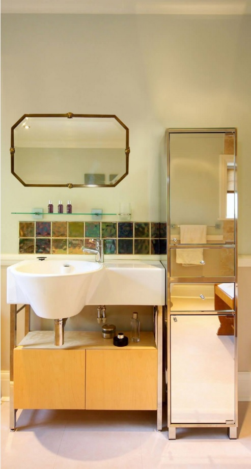 Bathroom Modern Interior Design Original Ideas. Extraordinary solution for the sink and its finishing in the eco interior