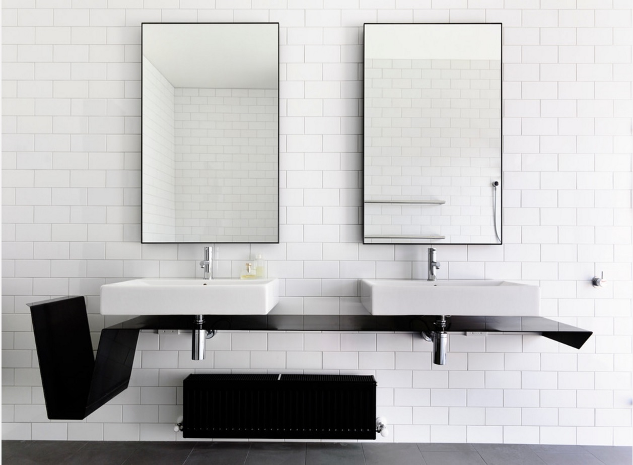 Bathroom Modern Interior Design Original Ideas. Absolutely amazing minimalistic sinks in the contrasting black and white interior trimmed with metro tiles and decorated by two rectangle stylish mirrors