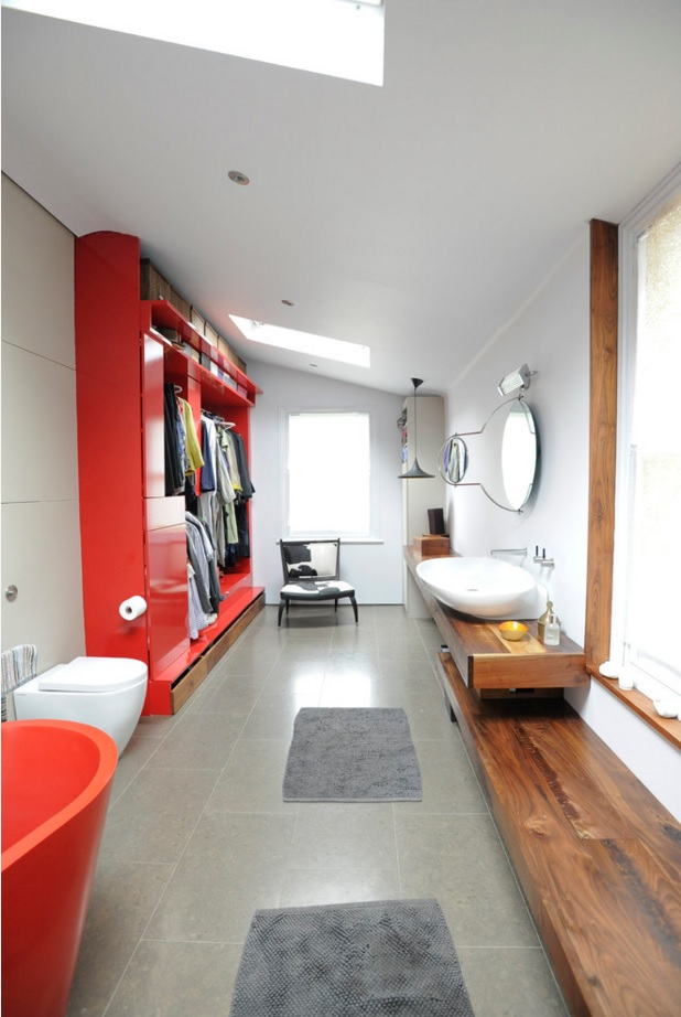Bathroom Modern Interior Design Original Ideas. unrepeatable design of the utilitarian premise with the red bathtub, red big cabinet for storage and the unique wooden decorated zone for face washing