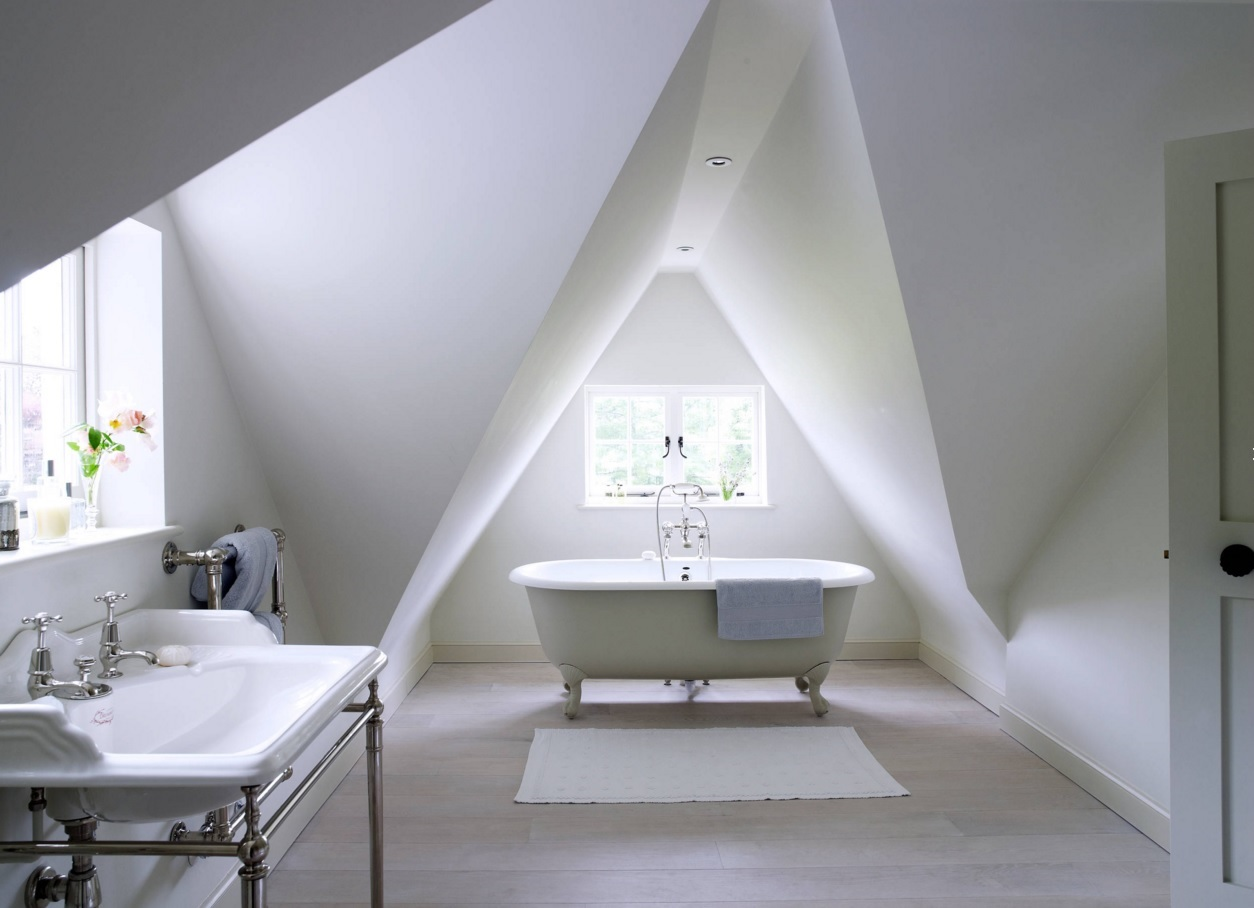 Bathroom Modern Interior Design Original Ideas. This unusual bathroom deaign with sloped tringle ceiling in the minimalism style can be used for the wallpaper for the screen
