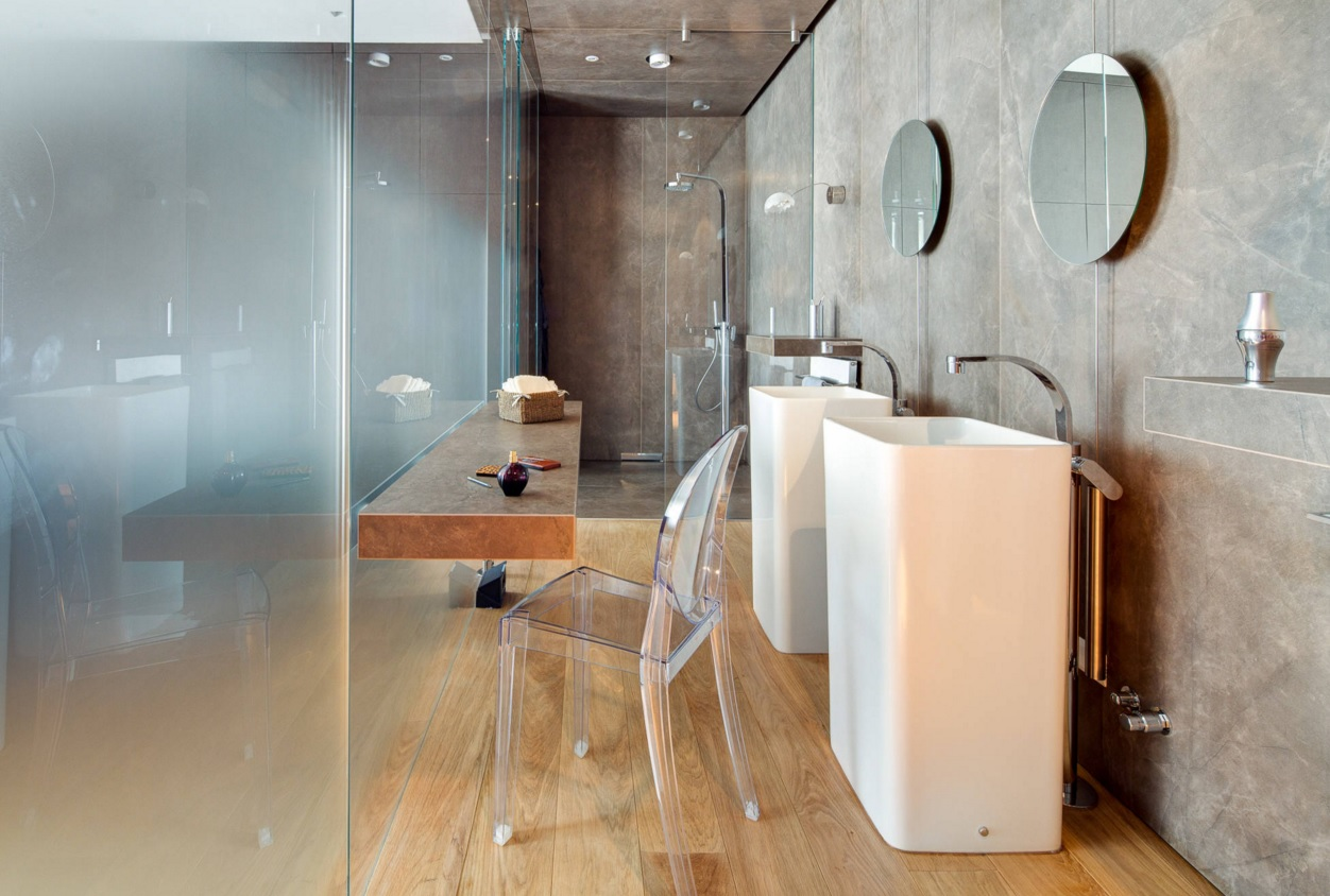 Bathroom Modern Interior Design Original Ideas. Airy loft style for the light interior with glass partition and texture plaster in the walls