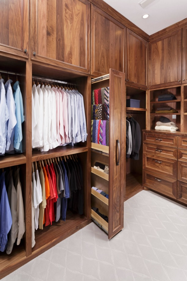 Custom Closet & Shelves & Wardrobe Original Design. Absolutely gorgeous idea for the custom closet with the separate section for ties