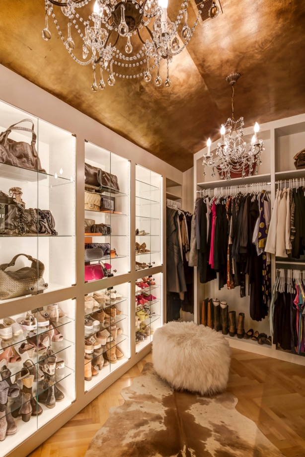 Custom Closet & Shelves & Wardrobe Original Design. Women dream wardrobe with backlight and glass surfaces in the white and golden finishing