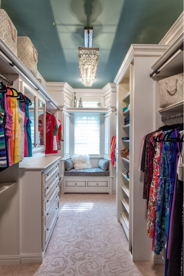 Custom Closet & Shelves & Wardrobe Original Design. Wardrobe with the turquoise ceiling and white furniture in the classic style