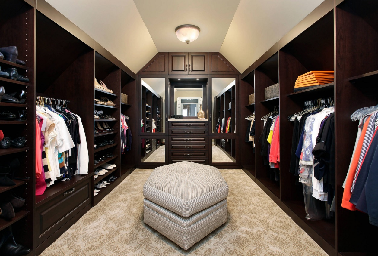 "Custom Closet & Shelves & Wardrobe Original Design. Unusual ""endless"" wardrobe with dark wooden trim, mirrors and a ottoman seat"
