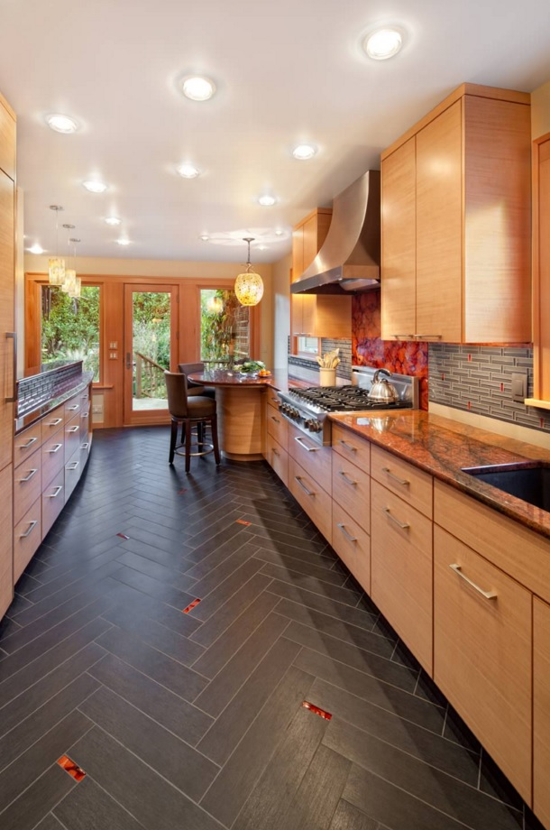 Most Original Kitchen Design Ideas 2016. Unusual floor trimming with red spots