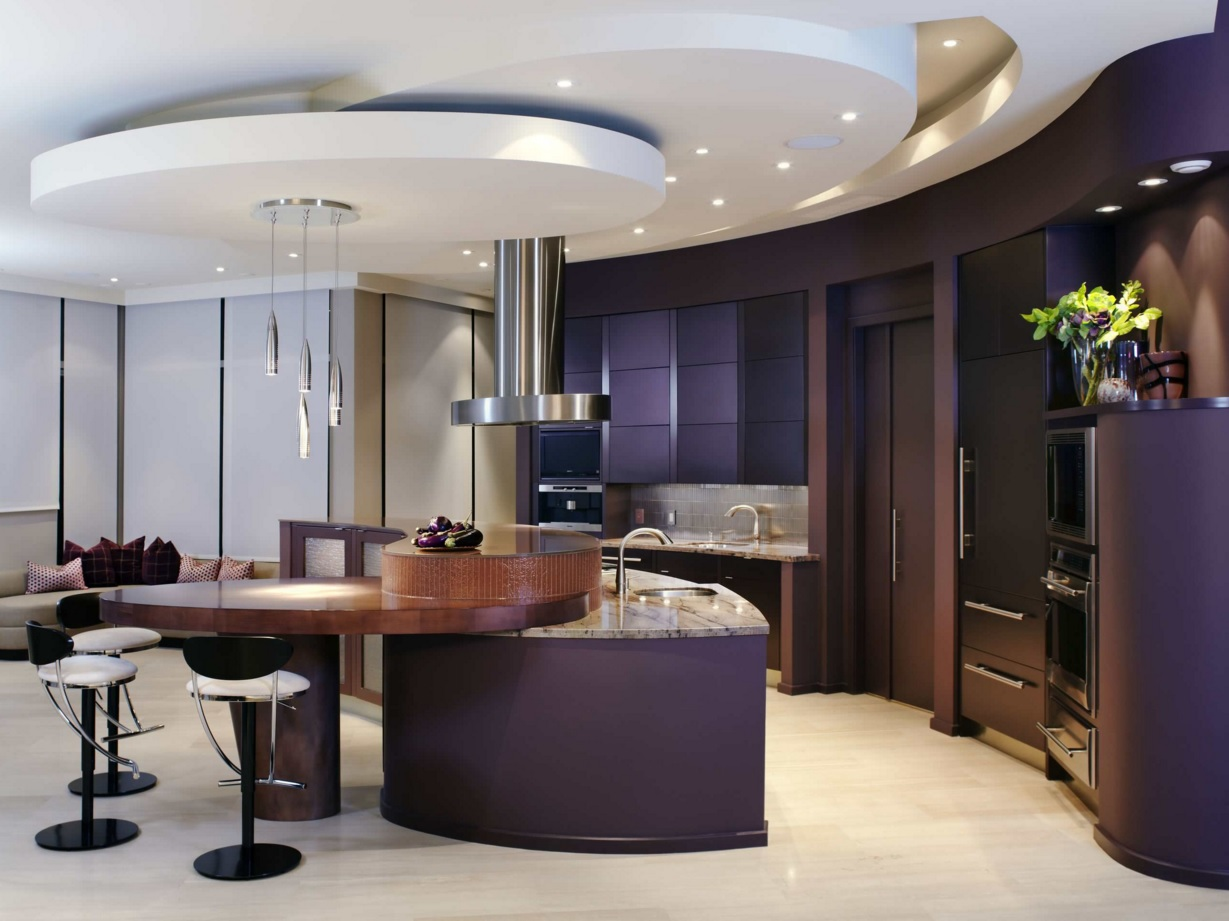 Most Original Kitchen Design Ideas 2016. Purple kitchen with the complex round shaped suspended ceiling