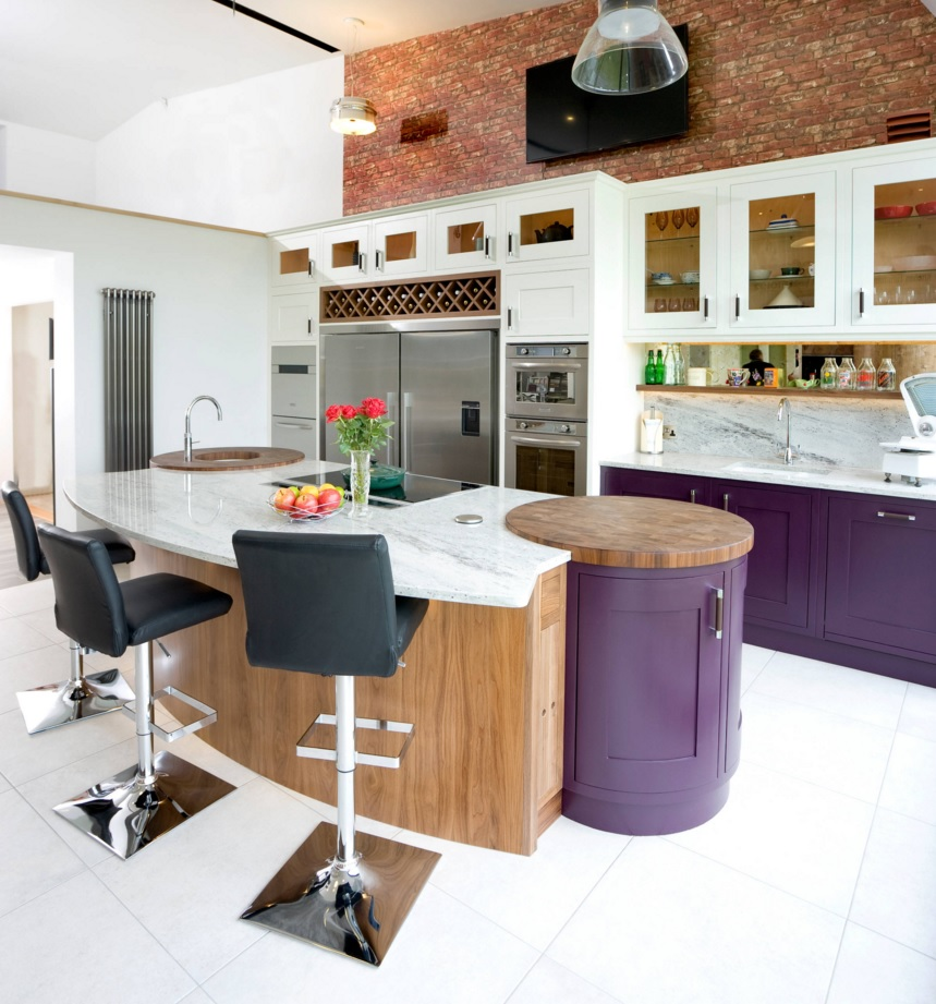 Most Original Kitchen Design Ideas 2016. Nice design of the purple interior and the unique bollard design for meat butchering