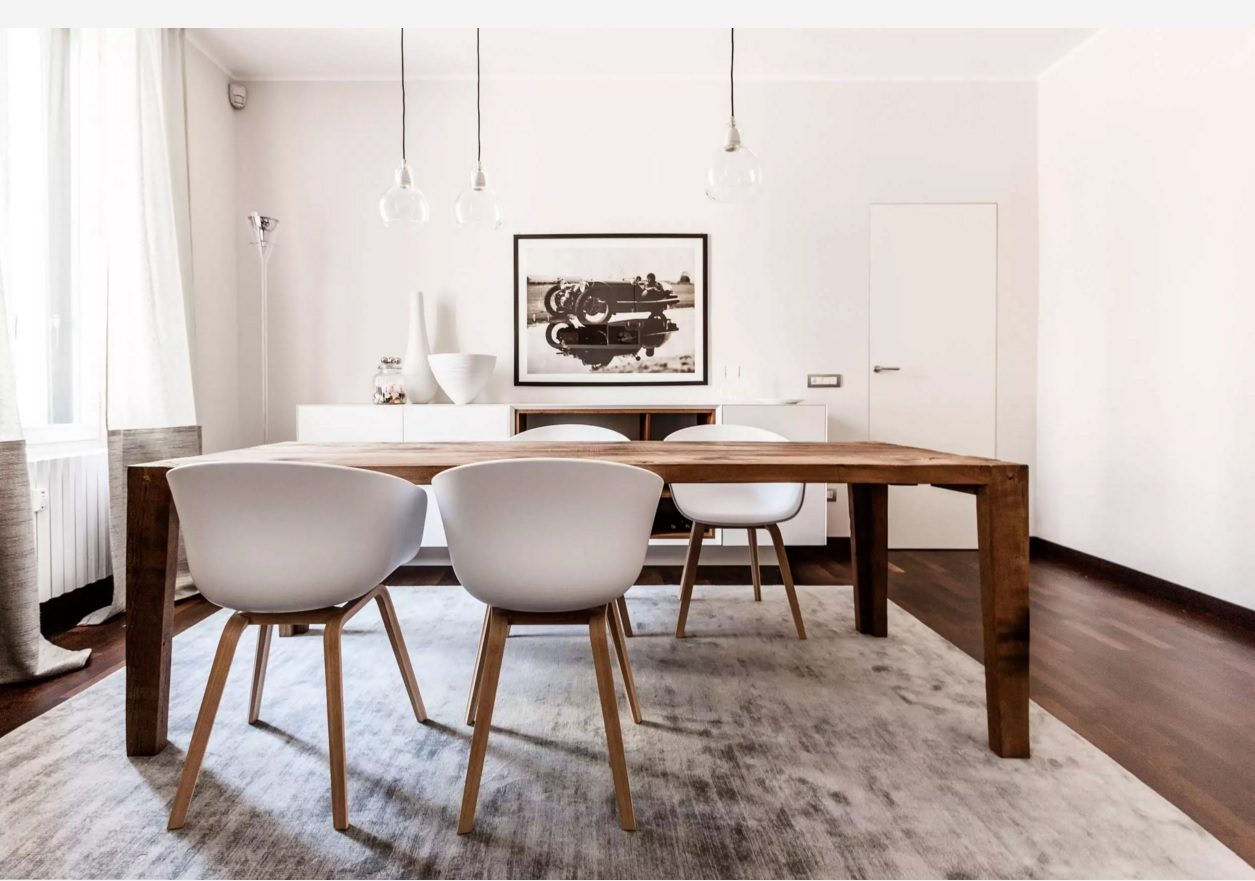 Apartments and Condos Design Projects 2016. Simple ideas to decorate a dining room with the modern form of the chairs
