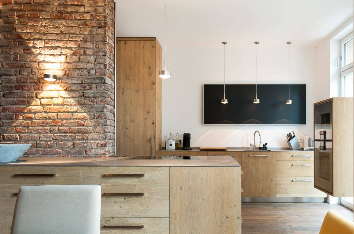 Apartments and Condos Design Projects 2016. Absolutely gorgeous original wooden and brickwork design of the kitchen