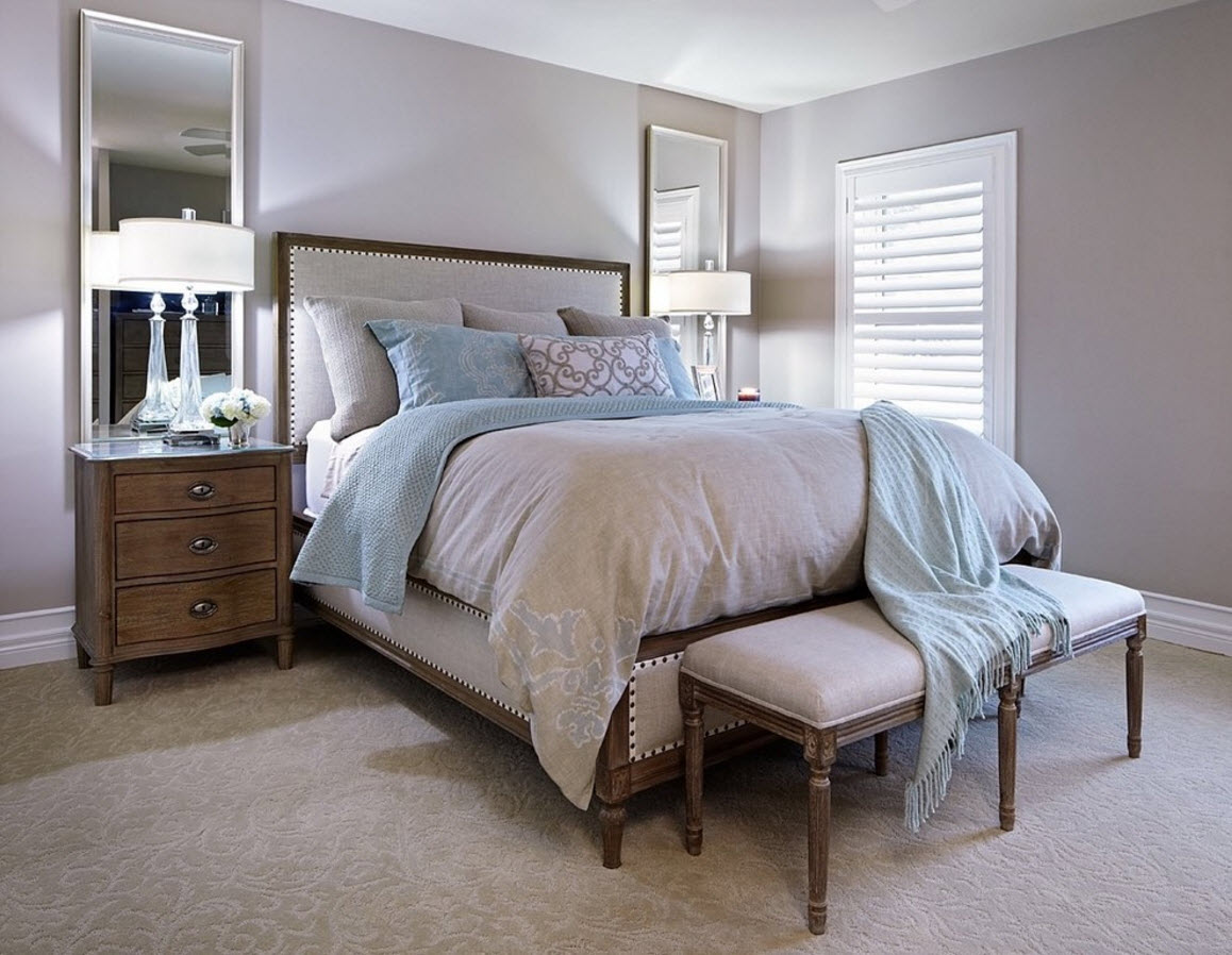 Modern Classics Private House Design Ideas. Bedroom with the bedside ottoman and the platform bed with high mattress
