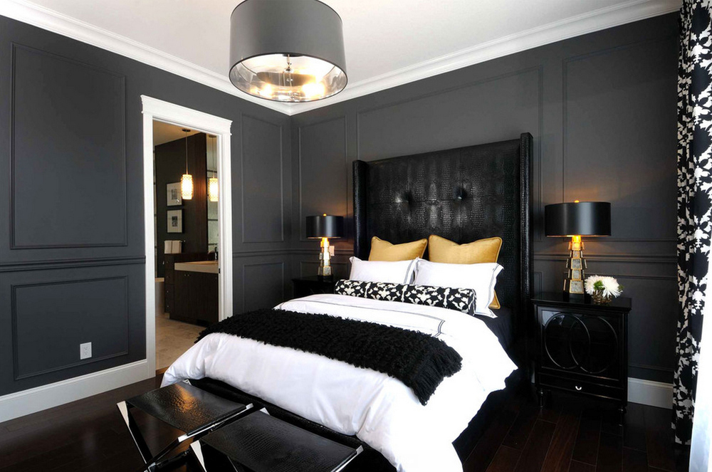 Black Furniture: Interior Design Photo Ideas. Contemporary style in the bedroom with black leather headboard, same upholstery ottomans and the dark wall finishing