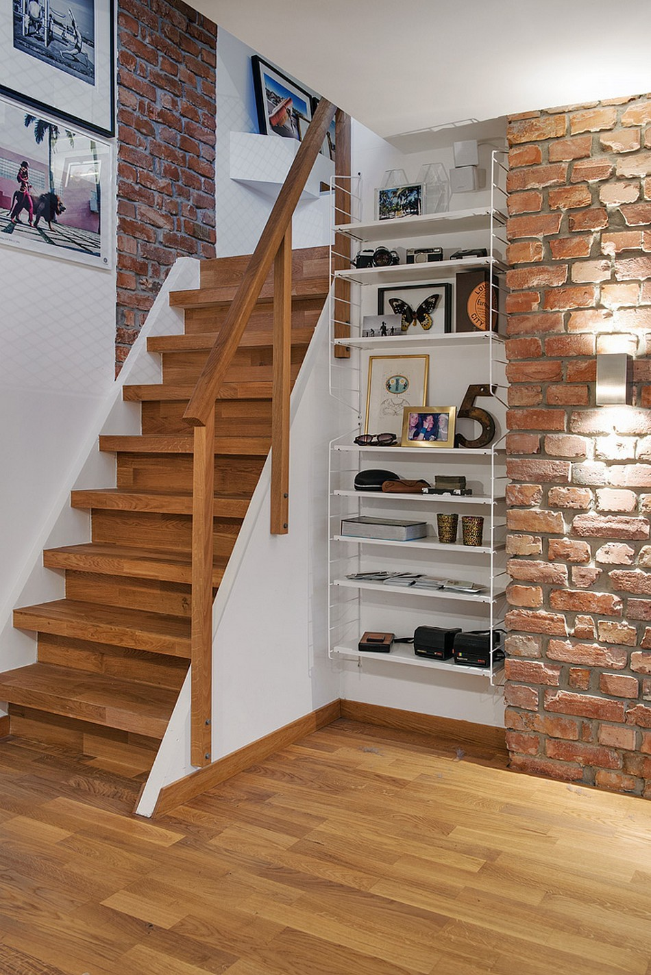 Swedish Private House Design Ideas Mix. Standart stairs near the storage and brickwork wall